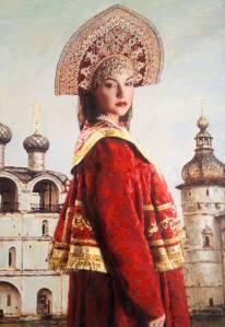Girl in Red Olga Painting